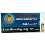 9mm Browning Long, FMJ, (50rds) $34.95